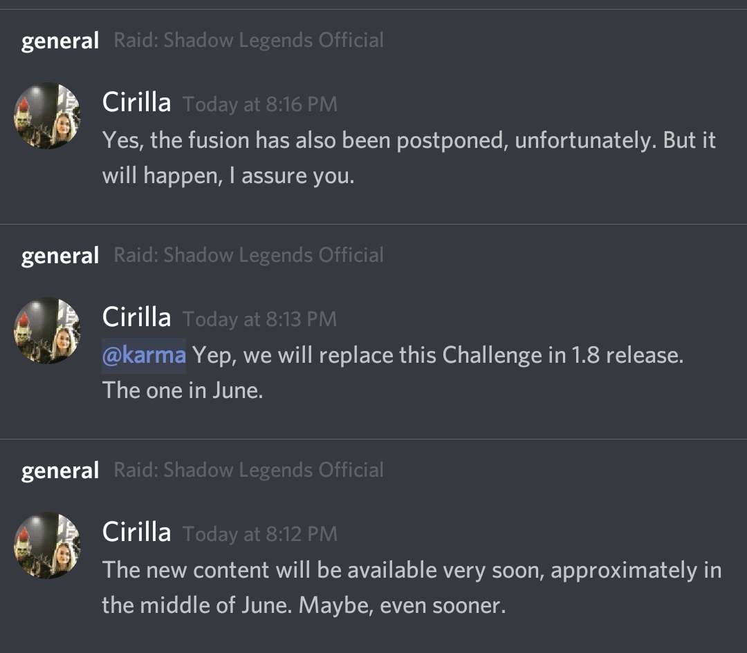 Messages from Cirilla on Discord